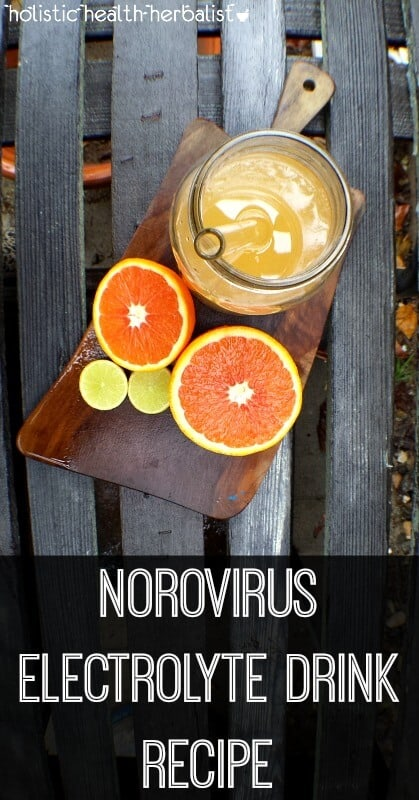 Norovirus Electrolyte Drink- The norovirus (aka the winter vomiting bug) is making its annual appearance. Here and there I've been hearing about it spreading around and thought it was the perfect time to share a few useful tips that will help you feel…more comfortable? I really hope so! Because once you have it it's a bit of a bear to deal with so I've including some helpful info about norovirus as well as an easy to drink norovirus electrolyte recipe. #norovirus #electrolytedrink